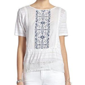Lucky Brand Short Sleeve Embroidered Top White S